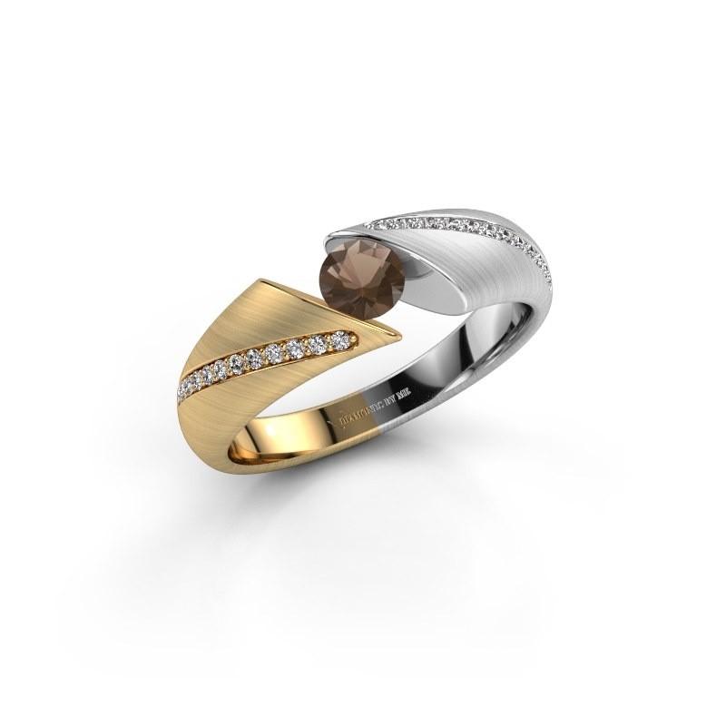 Engagement ring Hojalien 2 585 gold smokey quartz 4.2 mm
