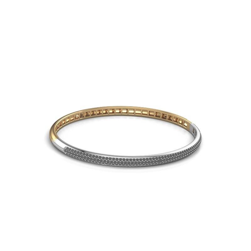 Slavenarmband Emely 4mm 585 goud zwarte diamant 1.409 crt