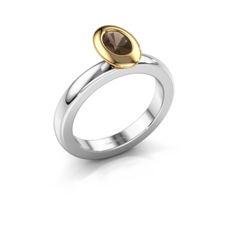 Stapelring Trudy Oval 585 witgoud rookkwarts 6x4 mm