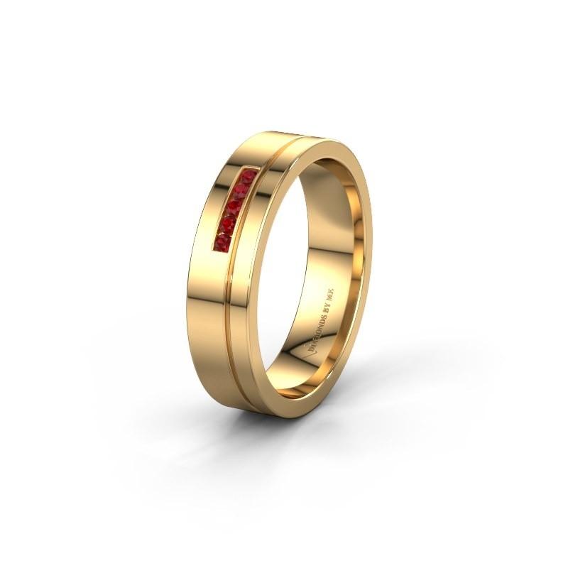 Trouwring WH0307L15AP 585 goud robijn ±5x1.7 mm