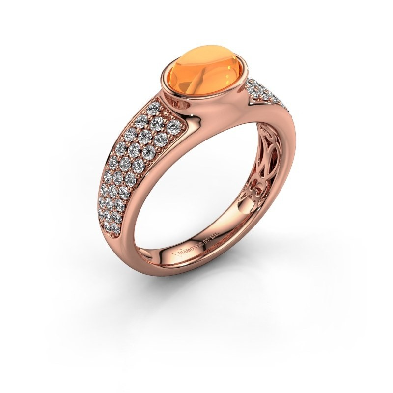 Ring Tatyana 375 rosé goud citrien 7x5 mm