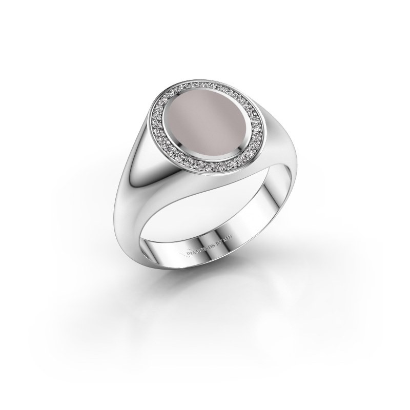 Pinky ring Adam 1 375 white gold red sardonyx 10x8 mm