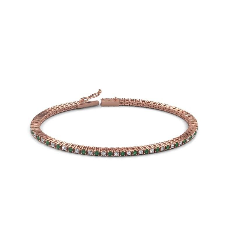 Tennis bracelet Simone 375 rose gold emerald 2 mm