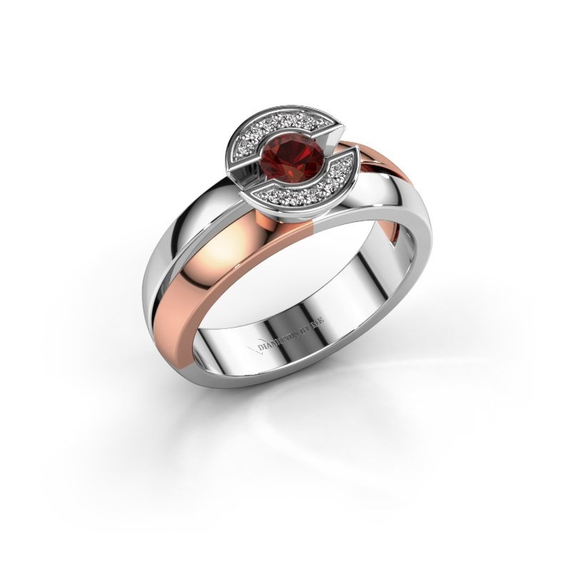 Ring Jeanet 1 585 rosé goud granaat 4 mm