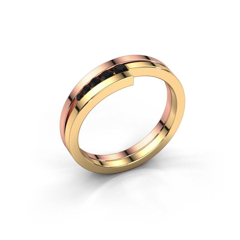 Ring Cato 585 rose gold black diamond 0.15 crt