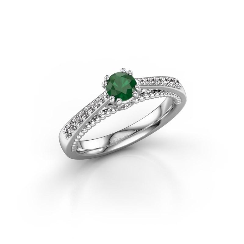 Verlovingsring Rozella 585 witgoud smaragd 4.2 mm