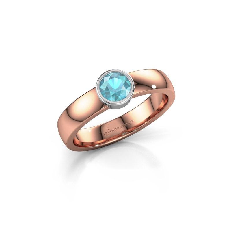Ring Ise 1 585 rose gold blue topaz 4.7 mm