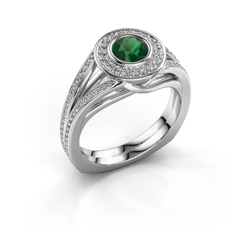 Ring Kellee 950 platina smaragd 5 mm