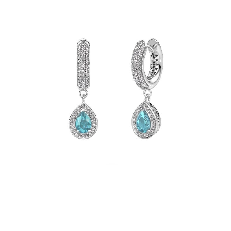 Drop earrings Barbar 2 375 white gold blue topaz 6x4 mm