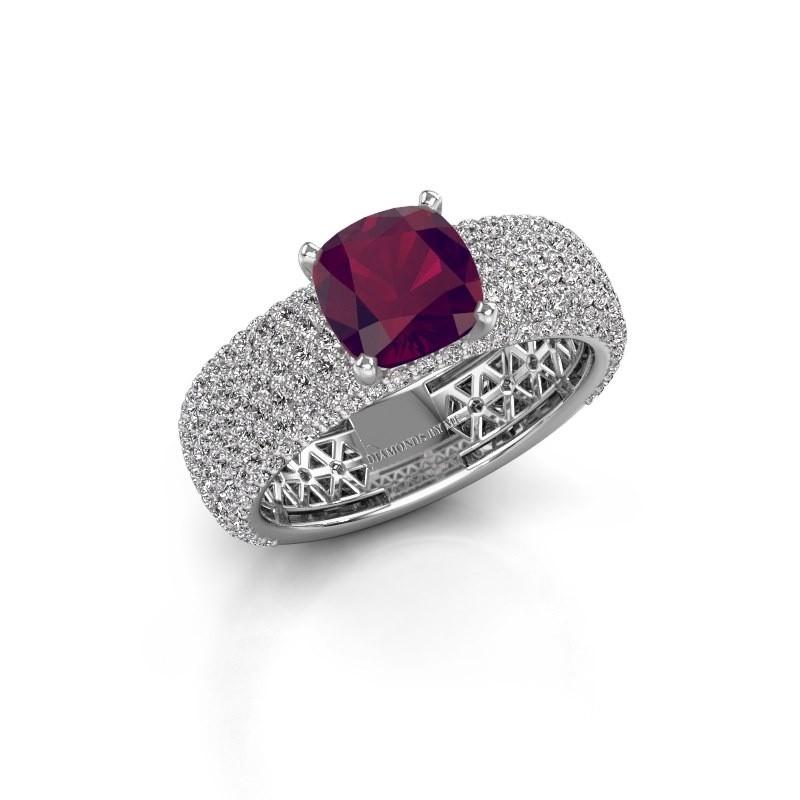 Engagement ring Darcy 585 white gold rhodolite 7 mm