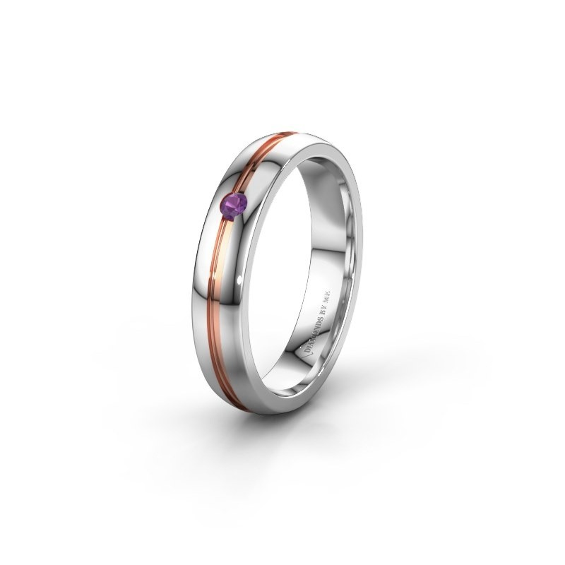 Wedding ring WH0424L24A 585 white gold amethyst ±4x1.7 mm