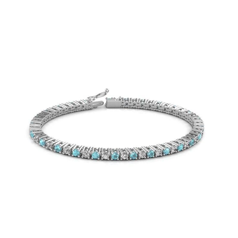 Tennis bracelet Petra 585 white gold blue topaz 3 mm
