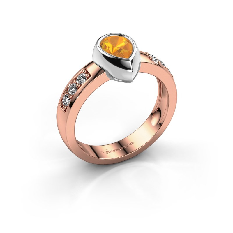 Ring Charlotte Pear 585 rose gold citrin 8x5 mm