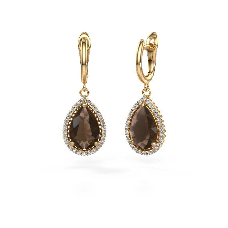 Drop earrings Hana 1 585 gold smokey quartz 12x8 mm