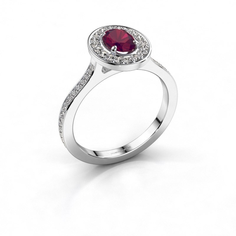 Ring Madelon 2 925 zilver rhodoliet 7x5 mm