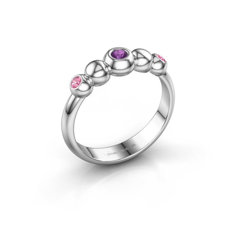 Stackable ring Lily 925 silver amethyst 2.5 mm