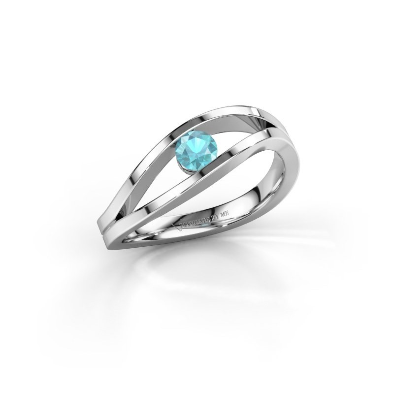 Engagement ring Sigrid 1 585 white gold blue topaz 3.7 mm