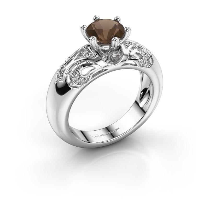 Ring Maya 950 Platin Rauchquarz 6.5 mm