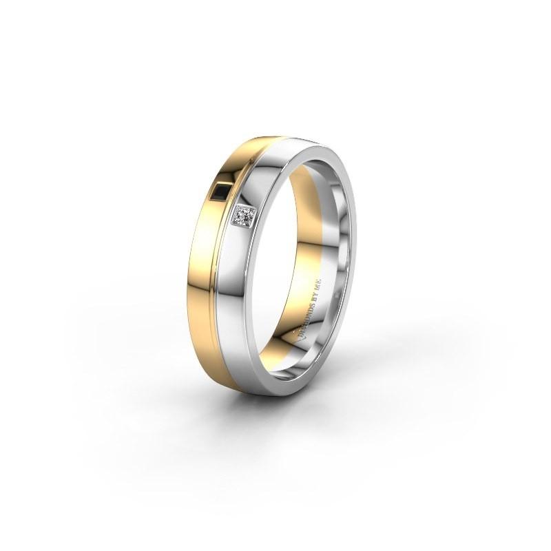 Wedding ring WH0231L25BP 585 gold black diamond ±0.20x0.08 in