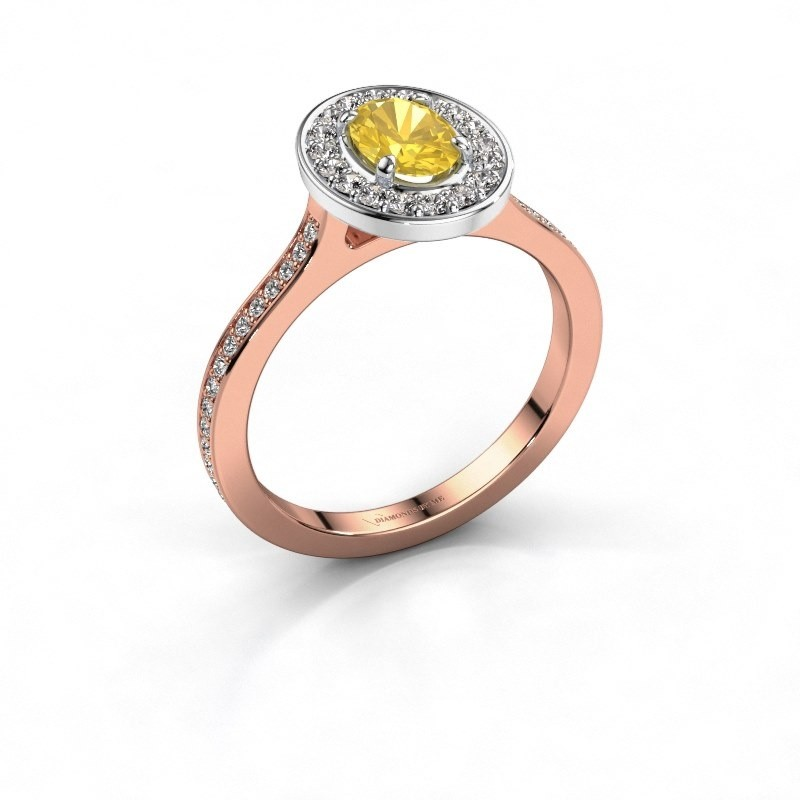 Ring Madelon 2 585 rosé goud gele saffier 7x5 mm