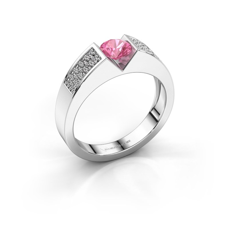 Engagement ring Lizzy 3 950 platinum pink sapphire 5 mm
