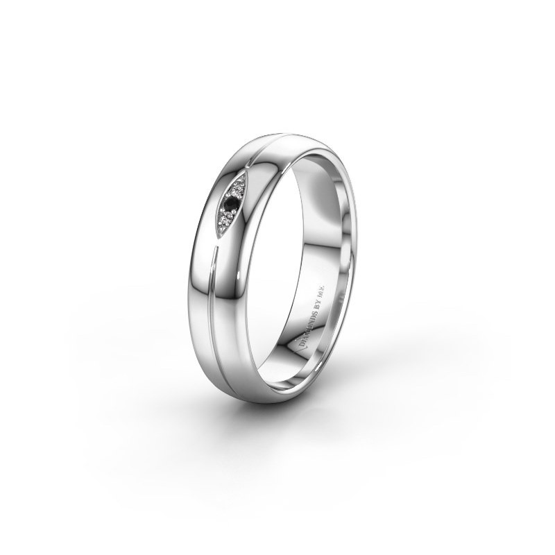 Trouwring WH0219L35X 925 zilver zwarte diamant ±5x1.4 mm