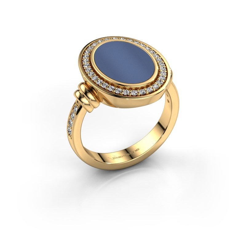 Heren ring Servie 585 goud blauw lagensteen 14x10 mm