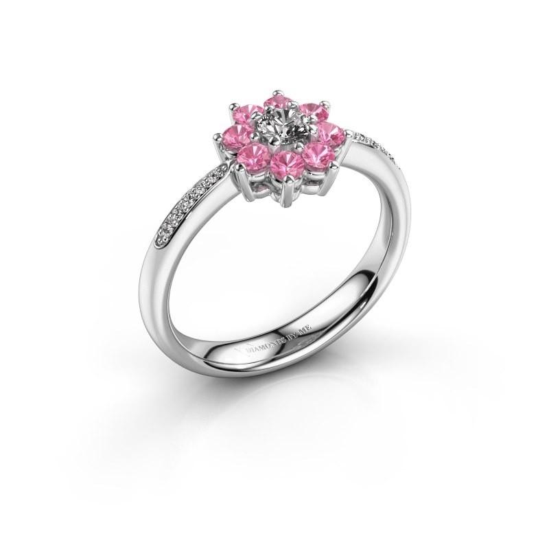 Verlovingsring Camille 2 585 witgoud roze saffier 3.4 mm