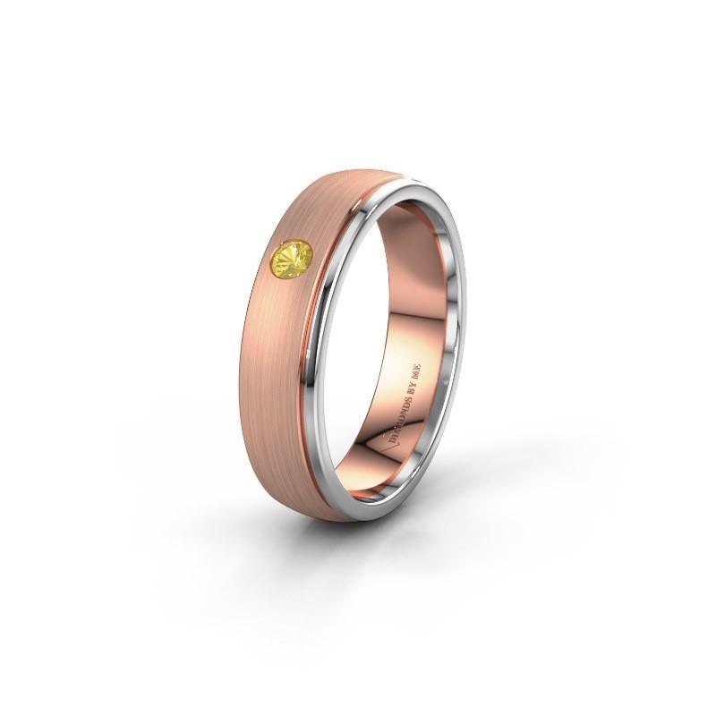 Trouwring WH0501L25AMP 585 rosé goud gele saffier ±5x1.7 mm