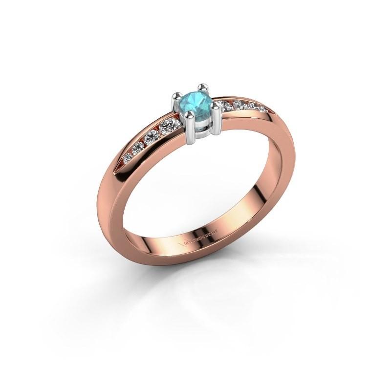Verlovingsring Zohra 585 rosé goud blauw topaas 3 mm