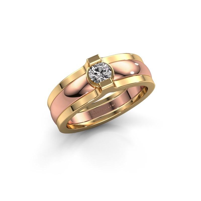 Bague Jade 585 or rose diamant 0.25 crt