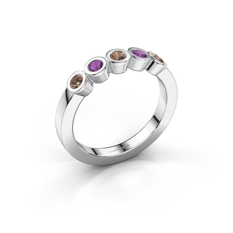 Ring Nova 925 silver brown diamond 0.30 crt