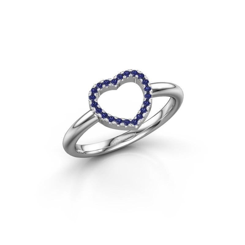 Ring Heart 7 585 witgoud saffier 1 mm