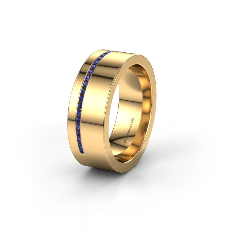 Trouwring WH0143L17BP 585 goud saffier ±7x2 mm