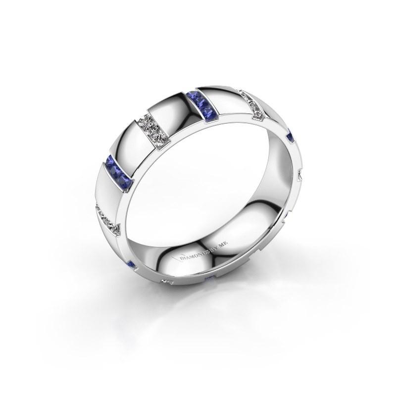 Huwelijksring Juul 950 platina saffier ±5x1.8 mm