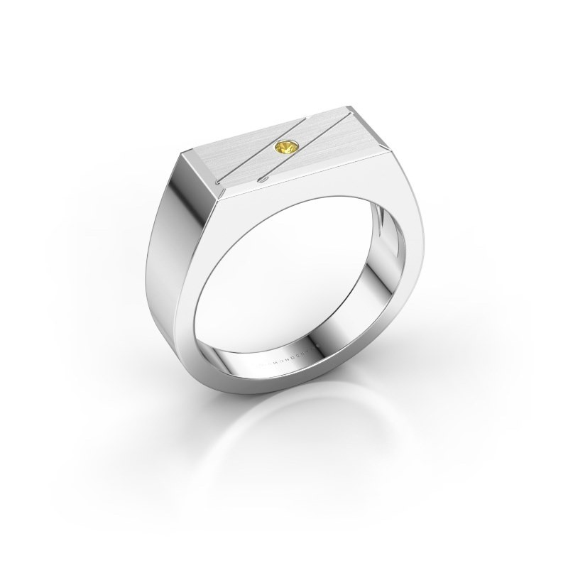 Men's ring Dree 3 585 white gold yellow sapphire 2 mm