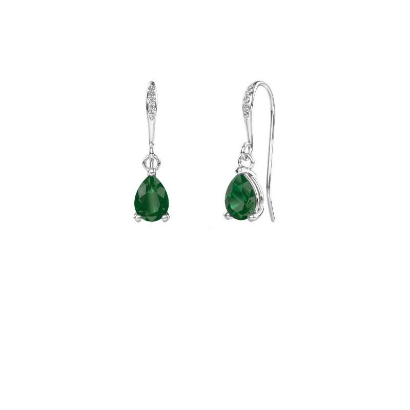 Oorhangers Laurie 2 375 witgoud smaragd 7x5 mm