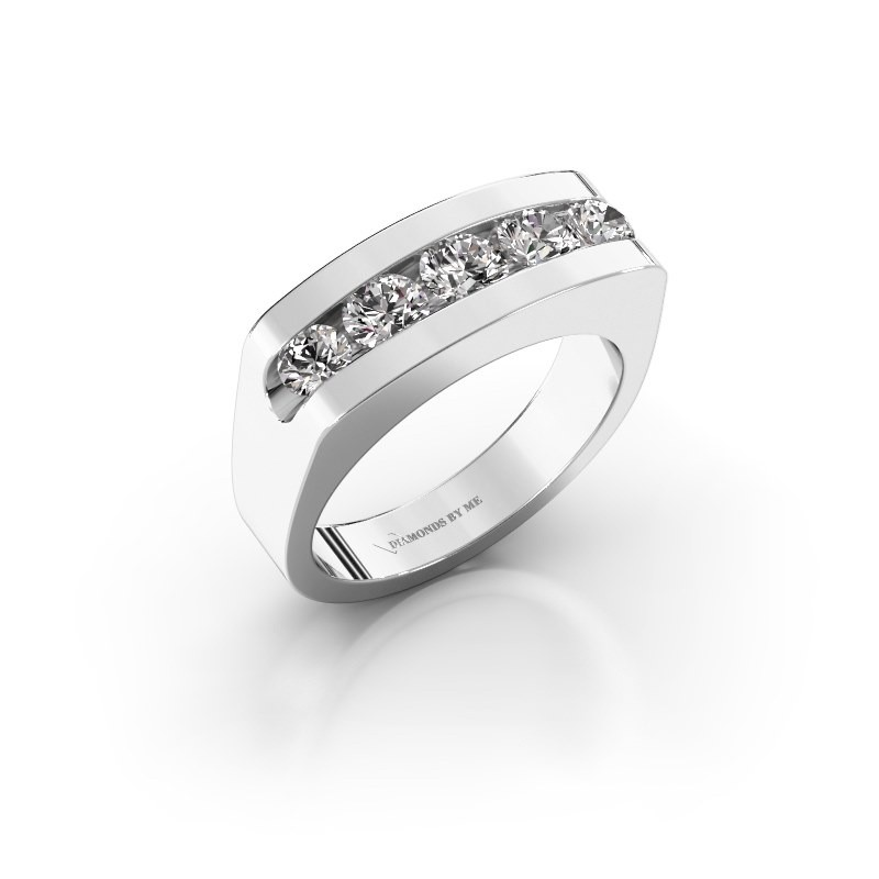 Heren ring Richard 375 witgoud zirkonia 4 mm