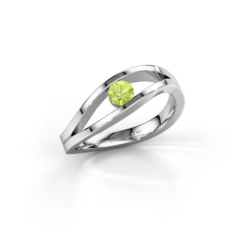 Engagement ring Sigrid 1 585 white gold peridot 3.7 mm