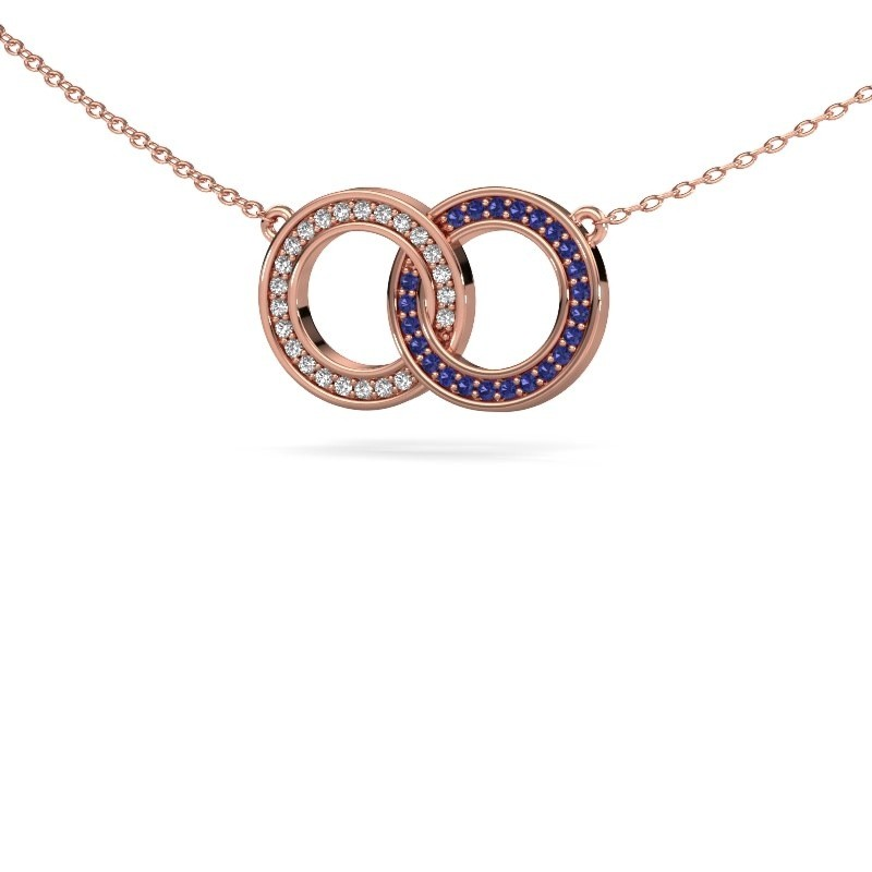 Ketting Circles 1 375 rosé goud saffier 1 mm