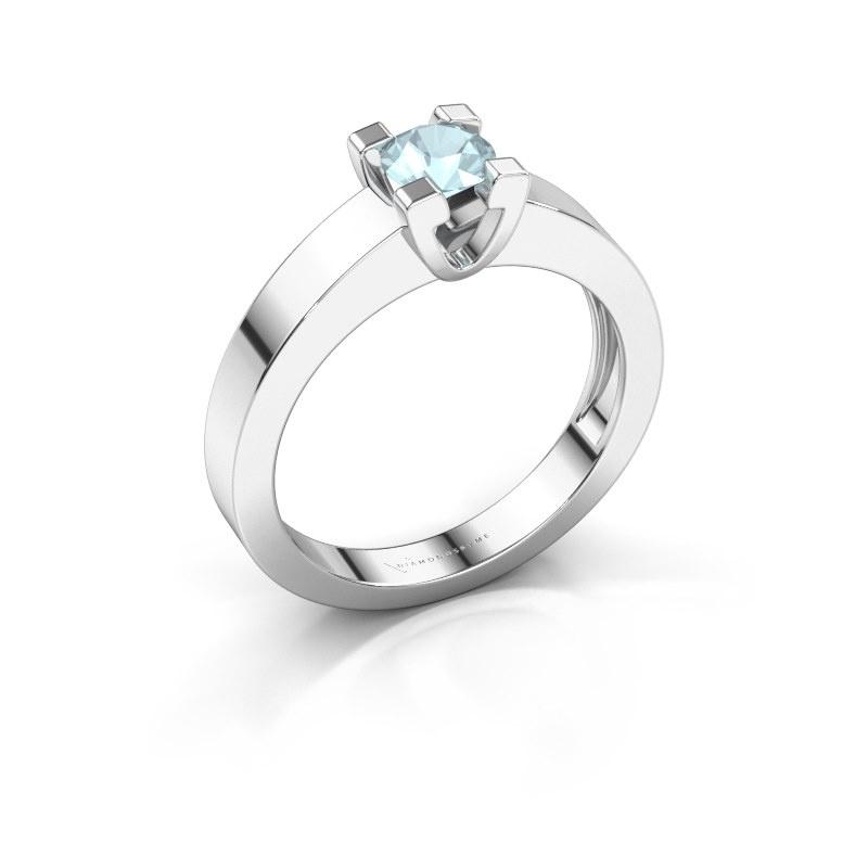 Promise ring Anne 1 950 platina aquamarijn 4.7 mm