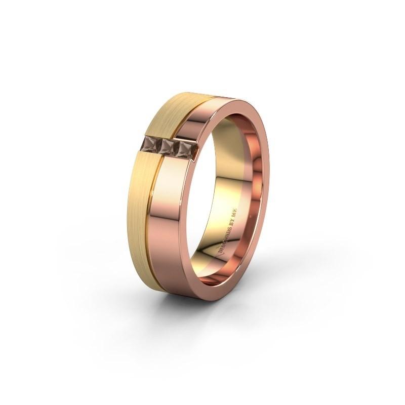 Wedding ring WH0906L16A 585 rose gold smokey quartz ±6x1.7 mm