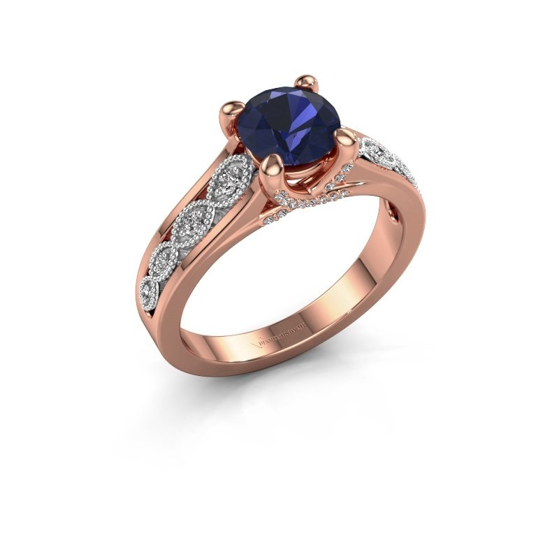 Engagement ring Clarine 585 rose gold sapphire 6.5 mm