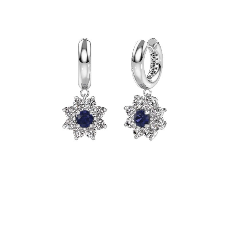 Drop earrings Geneva 1 585 white gold sapphire 4.5 mm