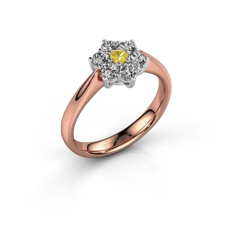 Promise ring Chantal 1 585 rosé goud gele saffier 2.7 mm