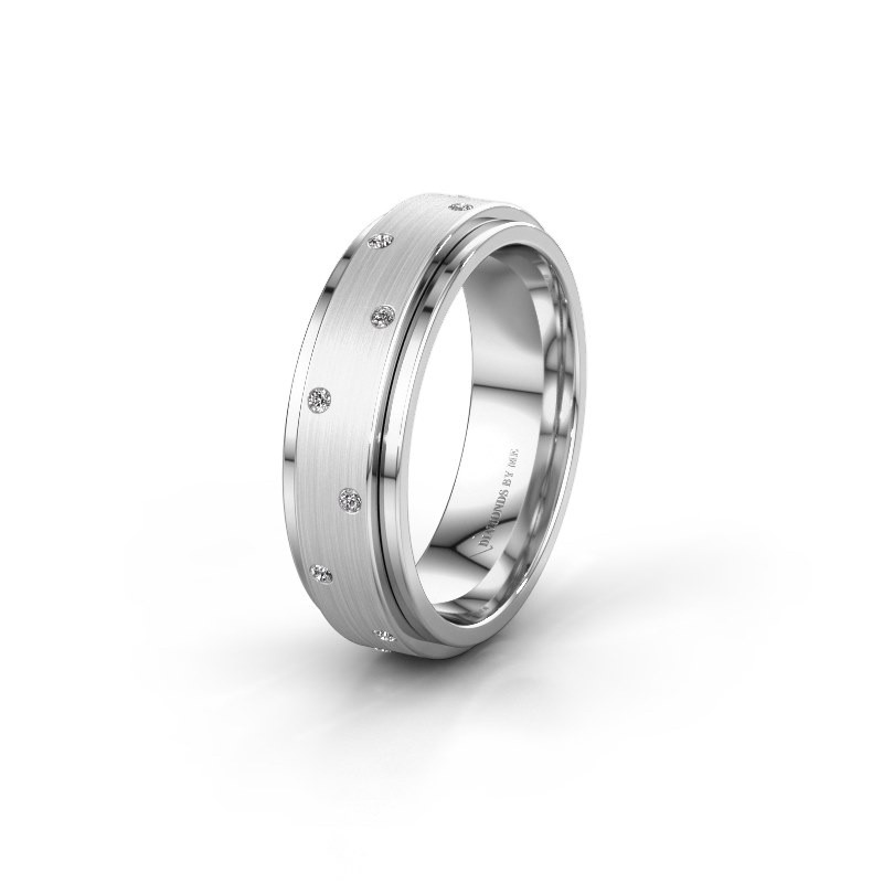 Trouwring WH2134L 585 witgoud diamant ±6x2.2 mm
