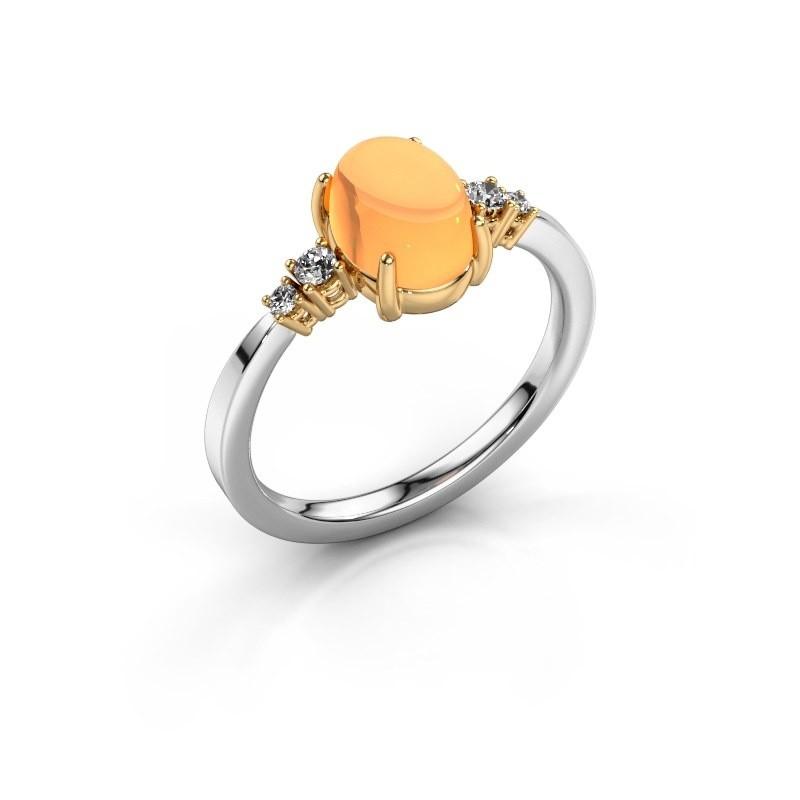 Ring Jelke 585 witgoud citrien 8x6 mm