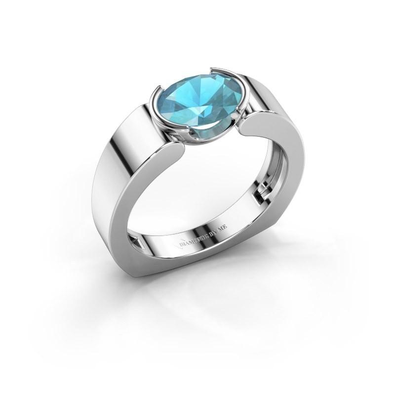 Ring Tonya 585 witgoud blauw topaas 8x6 mm