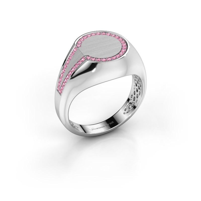 Men's ring Gijs 375 white gold pink sapphire 1 mm