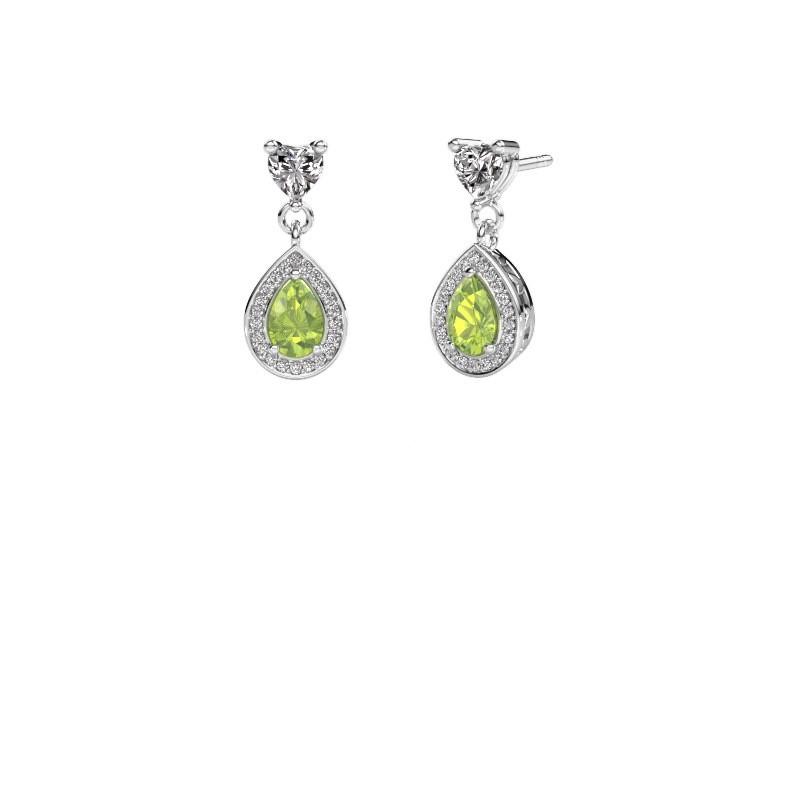 Drop earrings Susannah 585 white gold peridot 6x4 mm
